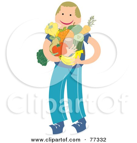 Royalty-Free (RF) Clipart Illustration of a Happy Boy With His Arms Full Of Fruits And Veggies by Prawny