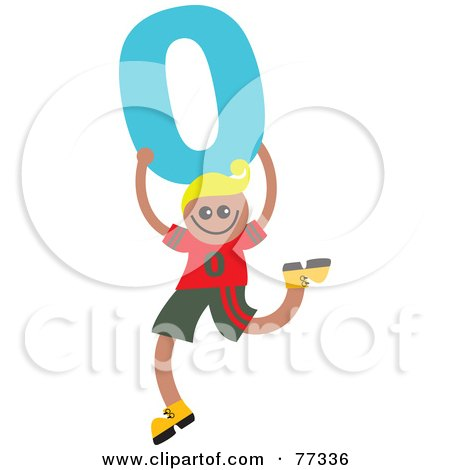 Royalty-Free (RF) Clipart Illustration of a Number Kid; Boy Holding 0 by Prawny