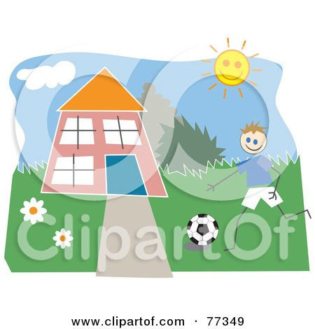 Royalty-Free (RF) Clipart Illustration of a Boy Playing Soccer In The Front Yard Of A Home by Prawny