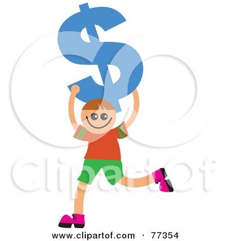 Royalty-Free (RF) Clipart Illustration of a Happy Smiling Boy Carrying A Blue Dollar Symbol by Prawny