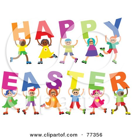 Royalty-Free (RF) Clipart Illustration of a Diverse Group Of Children Spelling Out Happy Easter by Prawny