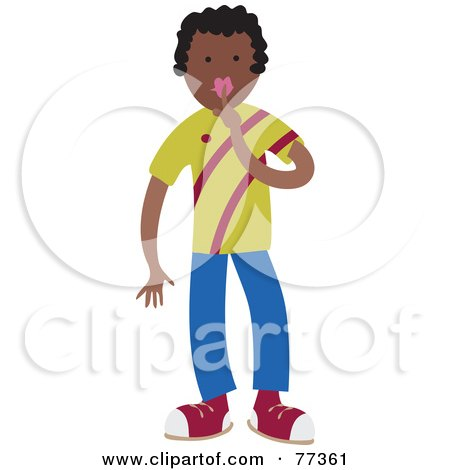 Royalty-Free (RF) Clipart Illustration of a Boy Holding A Finger To His Lips by Prawny