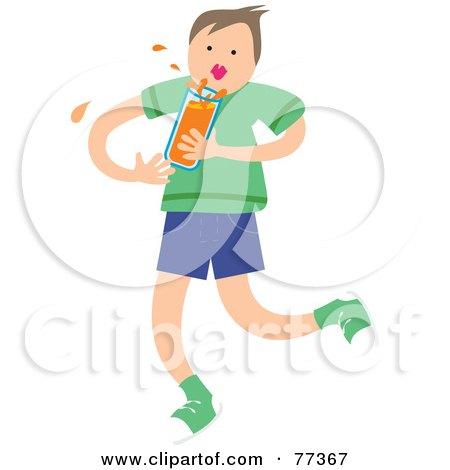 Royalty-Free (RF) Clipart Illustration of a Boy Splashing A Glass Of Orange Juice Or Orange Soda by Prawny
