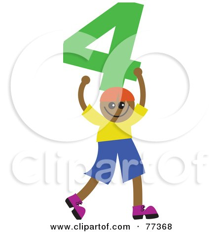 Royalty-Free (RF) Clipart Illustration of a Number Kid; Boy Holding 4 by Prawny