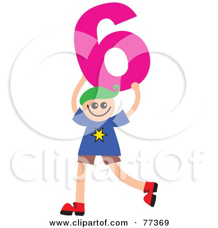 Royalty-Free (RF) Clipart Illustration of a Number Kid; Boy Holding 6 by Prawny