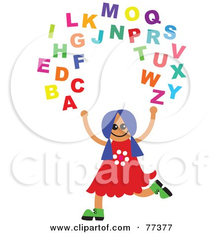 Royalty-Free (RF) Clipart Illustration of a Happy Girl Juggling The Alphabet by Prawny