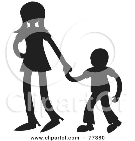 Royalty-Free (RF) Clipart Illustration of a Silhouetted Sister Holding Hands With Her Little Brother by Prawny