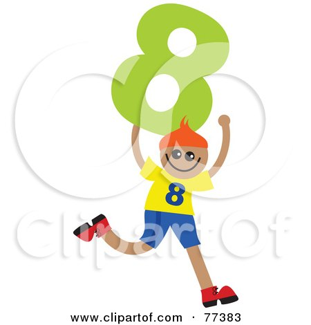 Royalty-Free (RF) Clipart Illustration of a Number Kid; Boy Holding 8 by Prawny