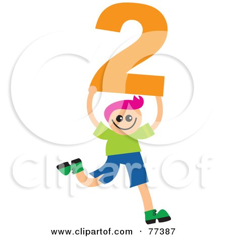 Royalty-Free (RF) Clipart Illustration of a Number Kid; Boy Holding 2 by Prawny