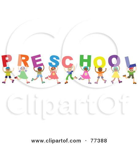 Royalty-Free (RF) Clipart Illustration of a Diverse Group Of Children Spelling The Word Preschool by Prawny