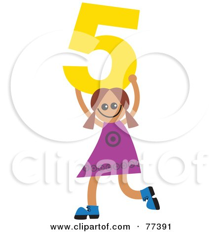 Royalty-Free (RF) Clipart Illustration of a Number Kid; Girl Holding 5 by Prawny
