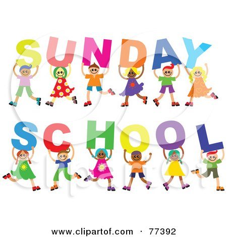 Royalty-Free (RF) Clipart Illustration of a Diverse Group Of Children Holding Letters Spelling Out Sunday School by Prawny