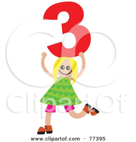 Royalty-Free (RF) Clipart Illustration of a Number Kid; Girl Holding 3 by Prawny