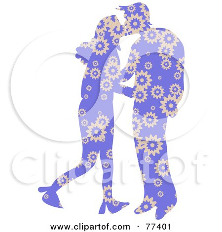 Royalty-Free (RF) Clipart Illustration of a Silhouetted Patterned Couple Kissing - Purple FLoral by Prawny