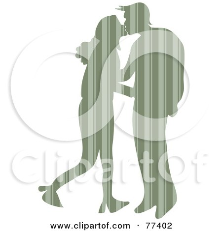 Royalty-Free (RF) Clipart Illustration of a Silhouetted Patterned Couple Kissing - Vertical Stripes by Prawny