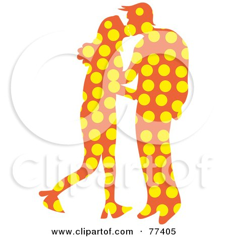 Royalty-Free (RF) Clipart Illustration of a Silhouetted Patterned Couple Kissing - Dots by Prawny