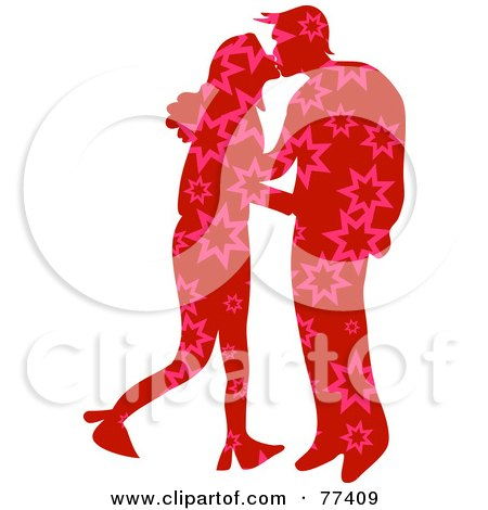 Royalty-Free (RF) Clipart Illustration of a Silhouetted Patterned Couple Kissing - Stars by Prawny