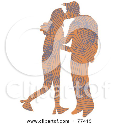 Royalty-Free (RF) Clipart Illustration of a Silhouetted Patterned Couple Kissing - Lines by Prawny