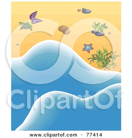 Royalty-Free (RF) Clipart Illustration of Blue Sea Water Washing Up By Seaweed And Shells On A Beach by Prawny