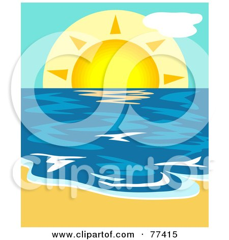Royalty-Free (RF) Clipart Illustration of a Summer Sun Lowering Over The Blue Ocean With Sand In The Foreground by Prawny