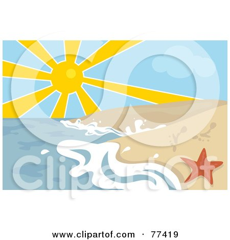 Royalty-Free (RF) Clipart Illustration of The Sun Shining Over The Ocean Surf Washing Up On The Shore By A Red Starfish by Prawny