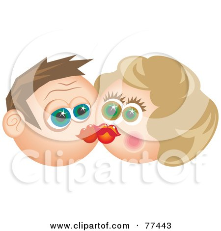 Royalty-Free (RF) Clipart Illustration of a Starry Eyed Man And Woman Smooching by Prawny