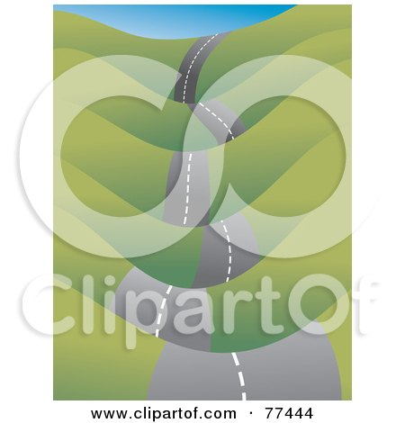 Royalty-Free (RF) Clipart Illustration of a Bumpy Roadway Leading Through Green Hills by Prawny