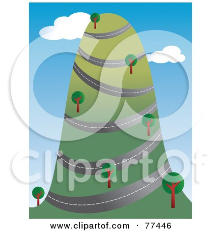 Royalty-Free (RF) Clipart Illustration of a Road Winding Around A Tall Hill With Trees by Prawny