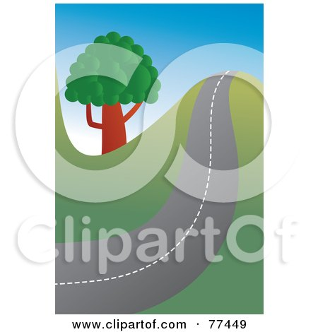 Royalty-Free (RF) Clipart Illustration of a Hilly Country Road Passing A Tree by Prawny