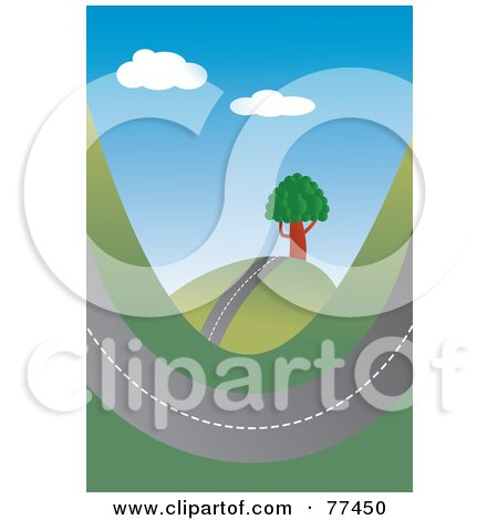 Royalty-Free (RF) Clipart Illustration of a Road Swooping Through Hills by Prawny
