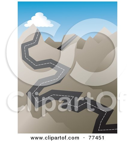 Royalty-Free (RF) Clipart Illustration of a Jagged Road Heading Up Sharp Mountains by Prawny