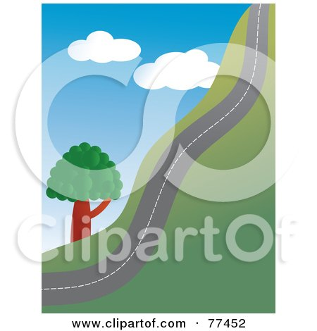 Royalty-Free (RF) Clipart Illustration of a Country Road Going Up A Hill Side by Prawny