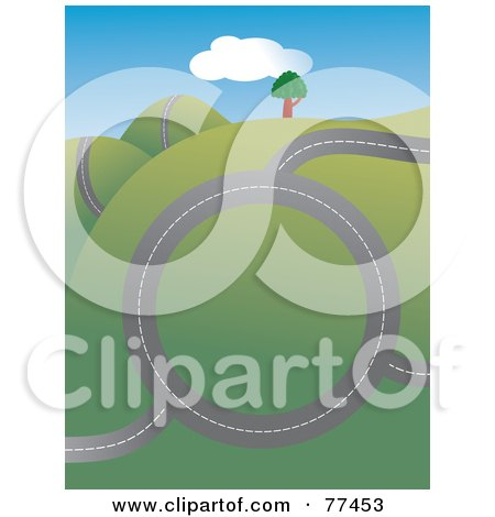 Royalty-Free (RF) Clipart Illustration of a Bumpy Roadway Over A Hilly Landscape With Trees by Prawny