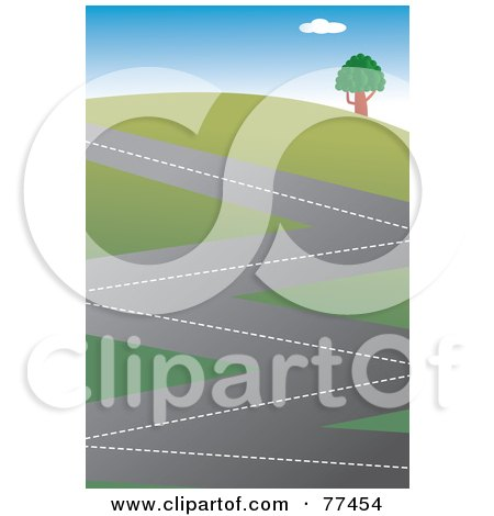 Royalty-Free (RF) Clipart Illustration of a Zig Zagging Road Winding Up A Hillside by Prawny