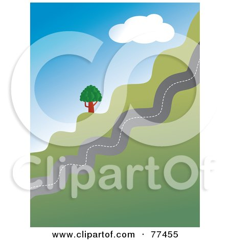 Royalty-Free (RF) Clipart Illustration of a Jagged Country Road Traveling Up A Hill by Prawny