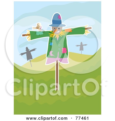 Friendly Brown Bird On A Scarecrow In A Hilly Landscape Posters, Art Prints