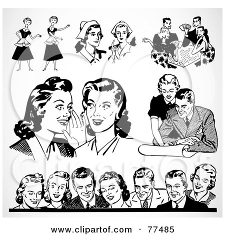 Royalty-Free (RF) Clipart Illustration of a Digital Collage Of Retro Black And White Men And Women by BestVector