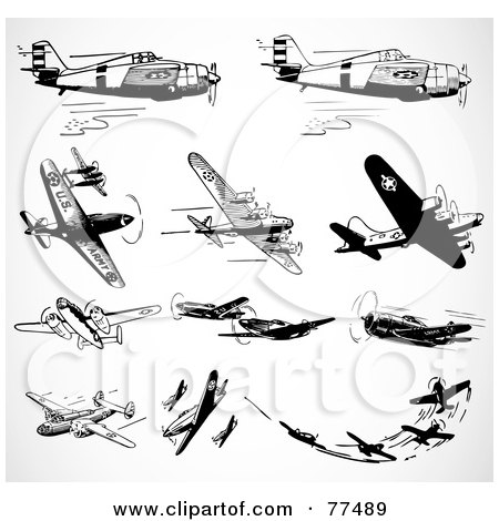 Royalty-Free (RF) Clipart Illustration of a Digital Collage Of Black And White Military Aircraft by BestVector