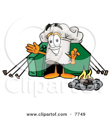 Chefs Hat Mascot Cartoon Character Camping With a Tent and Fire Posters, Art Prints