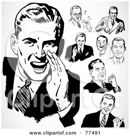 Royalty-Free (RF) Clipart Illustration of a Digital Collage Of Retro Black And White Talking Businessmen by BestVector