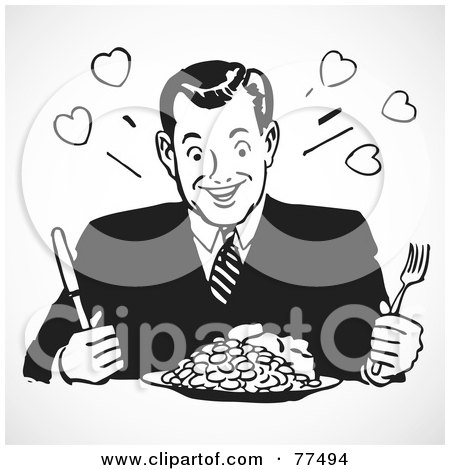 Royalty-Free (RF) Clipart Illustration of a Black And White Retro Man Sitting In Front Of A Dinner Plate by BestVector