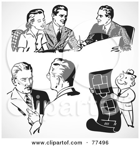 Royalty-Free (RF) Clipart Illustration of a Digital Collage Of Black And White Retro Business Men Working by BestVector