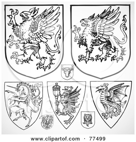 Royalty-Free (RF) Clipart Illustration of a Digital Collage Of Black And White Fantasy Gothic Shields by BestVector
