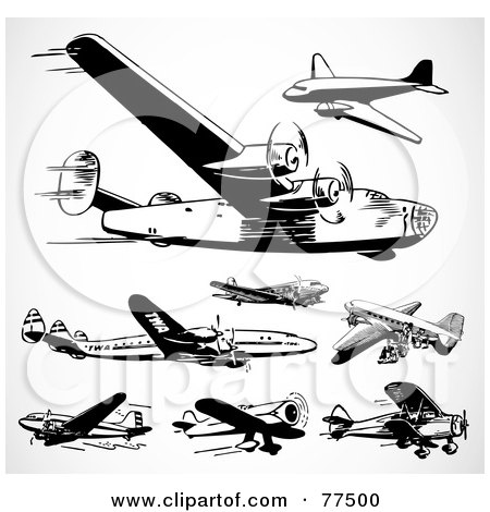 Royalty-Free (RF) Clipart Illustration of a Digital Collage Of Black And White Retro Planes by BestVector