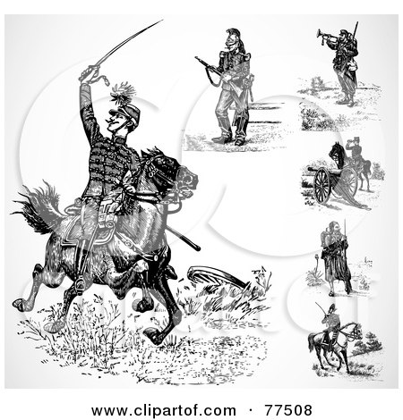 Royalty-Free (RF) Clipart Illustration of a Digital Collage Of Black And White Historical Soldiers by BestVector