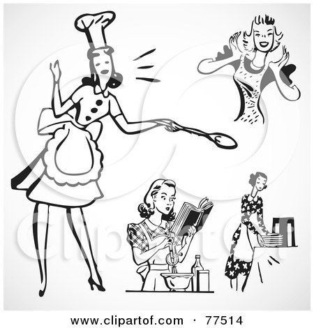Royalty-Free (RF) Clipart Illustration of a Digital Collage Of Retro Black And White Cooking House Wives by BestVector