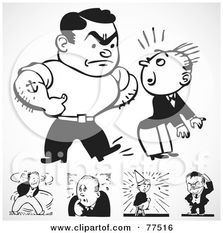 Royalty-Free (RF) Clipart Illustration of a Digital Collage Of Black And White Retro Bully Men by BestVector