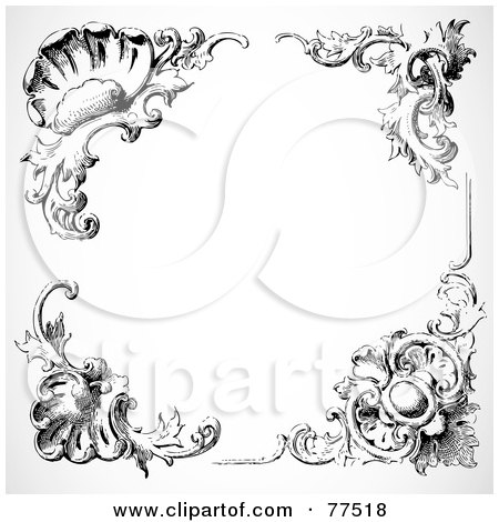 Royalty-free clipart picture of a black and white border of floral corner