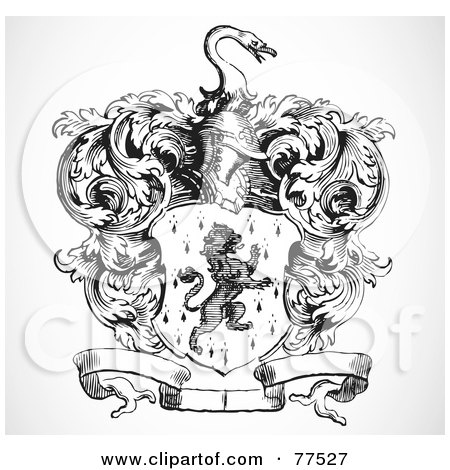 Royalty-Free (RF) Clipart Illustration of a Black And White Lion Shield With A Helmet, Banner And Vines by BestVector