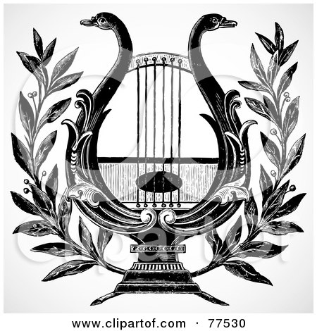 Royalty-Free (RF) Clipart Illustration of a Black And White Swan Lyre Or Harp by BestVector